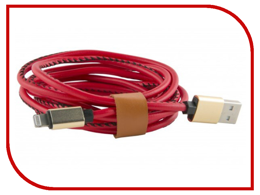 Аксессуар Red Line USB - 8 pin 2m Eco Leather Braid Red