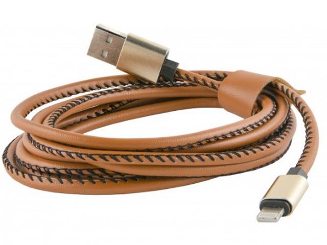 Аксессуар Red Line USB - 8 pin 2m Eco Leather Braid Brown гарнитура qcyber roof black red звук 7 1 2 2m usb
