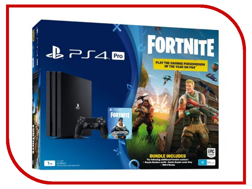 Игровая приставка Sony PlayStation 4 Pro 1Tb Black CUH-7108B + игра Fortnite игровая приставка sony playstation 4 1tb call of duty ww ii