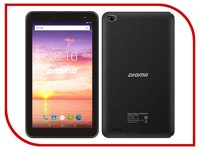 Zakazat.ru: Планшет Digma Optima 7016N 3G Black TS7175MG (MT8321 1.3 GHz/1024Mb/16Gb/GPS/3G/Wi-Fi/Bluetooth/Cam/7.0/1024x600/Android)