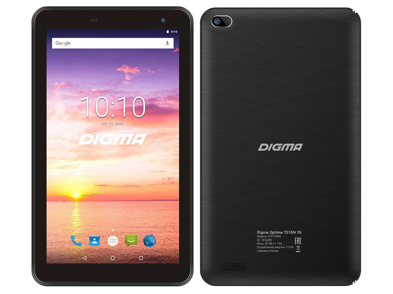 Планшет Digma Optima 7016N 3G Black TS7175MG (MT8321 1.3 GHz/1024Mb/16Gb/GPS/3G/Wi-Fi/Bluetooth/Cam/7.0/1024x600/Android)