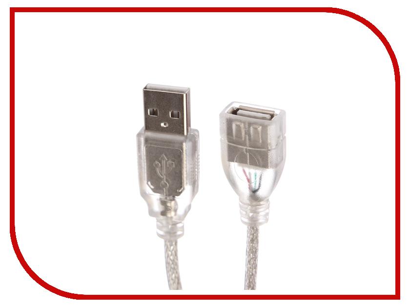 Аксессуар Greenconnect USB 2.0 AM - AF 0.2m Transparent GCR-50528 кабель удлинительный usb 2 0 am af 1 5м greenconnect плоский синий gcr uec2m2 bd 1 5m