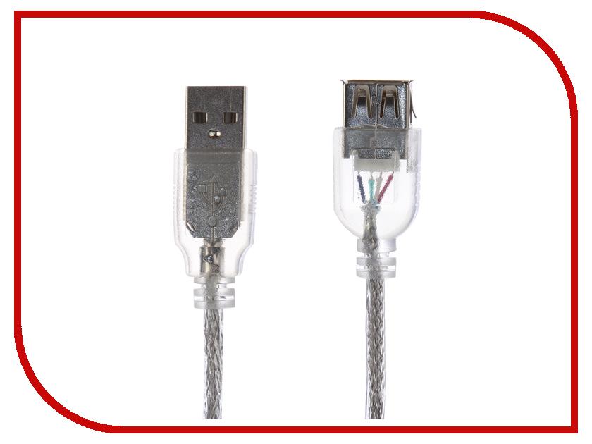 Аксессуар Greenconnect USB 2.0 AM - AF Transparent GCR-50950 кабель удлинительный usb 2 0 am af 1 5м greenconnect плоский синий gcr uec2m2 bd 1 5m