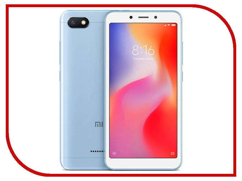Сотовый телефон Xiaomi Redmi 6A 2/32GB Blue сотовый телефон xiaomi redmi note 5a prime 3gb ram 32gb grey
