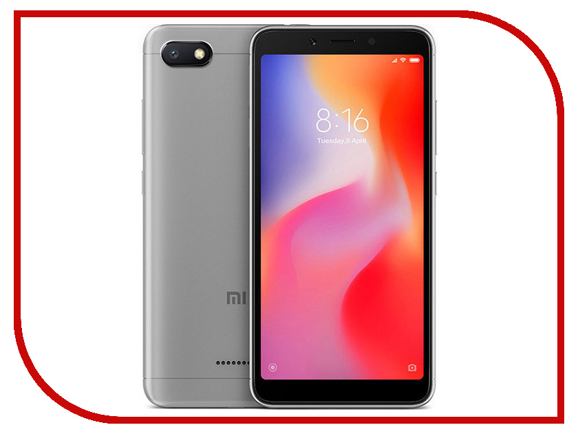 Сотовый телефон Xiaomi Redmi 6A 2/16GB Grey сотовый телефон xiaomi redmi note 5a prime 3gb ram 32gb grey