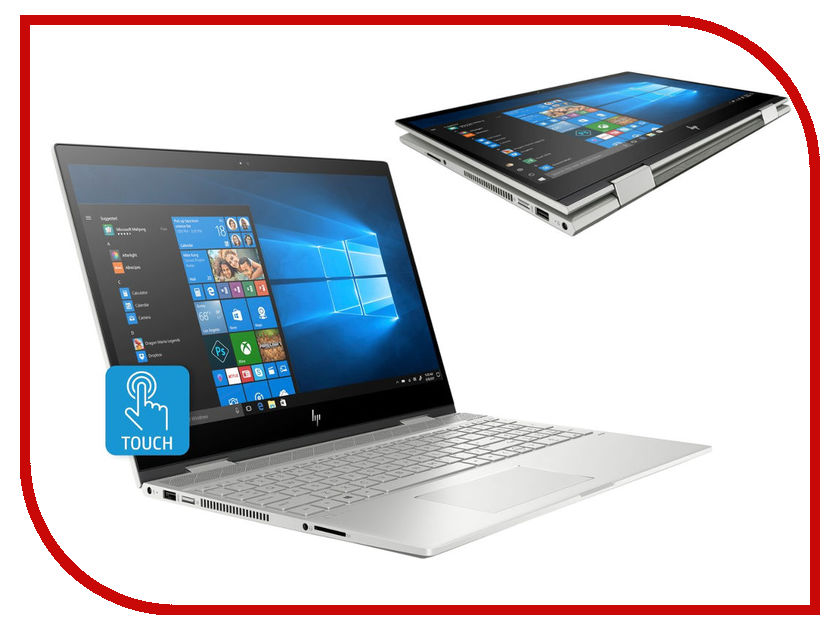 Ноутбук HP Envy x360 15-cn0016ur Silver 4GY26EA (Intel Core i7-8550U 1.8 GHz/16384Mb/512Gb SSD/nVidia GeForce MX150 4096Mb/Wi-Fi/Bluetooth/Cam/15.6/3840x2160/Windows 10 Home 64-bit)