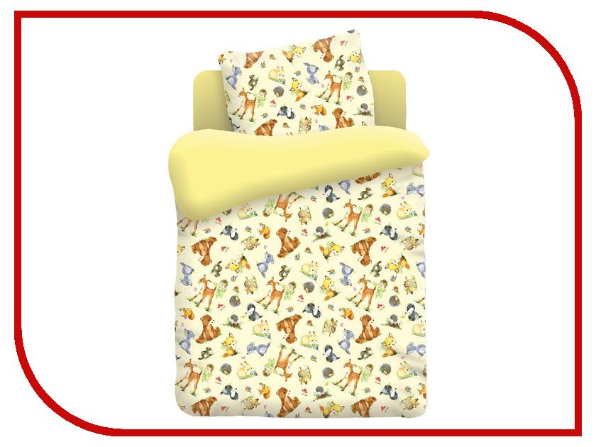 Постельное белье Непоседа Лесные обитатели КДН-1 13018 Комплект Детский Бязь Yellow 409055 постельное белье 1 5 спальное непоседа тролли счастливая розочка 1 5 спальное 3 предмета