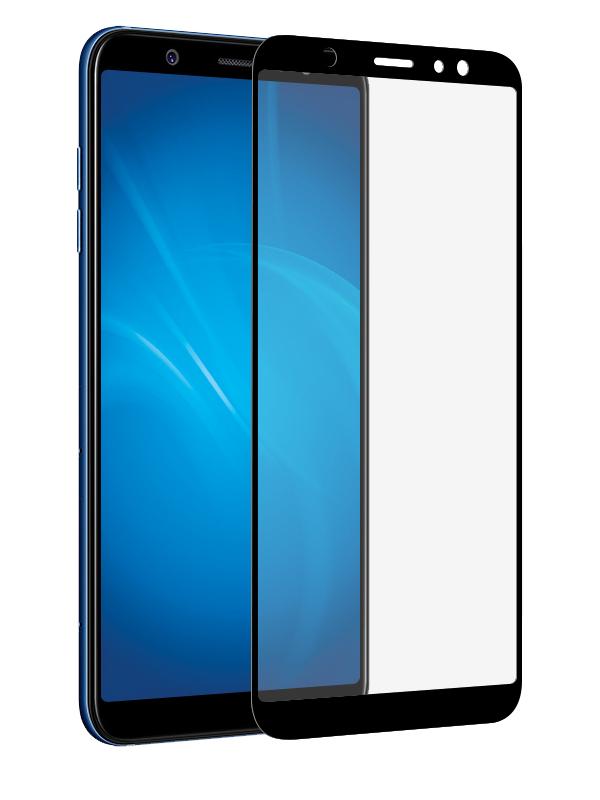 Аксессуар Защитное стекло DF для Samsung Galaxy A6 Plus 2018Full Screen+Full Glue sColor-40Black защитное стекло для экрана df scolor 48 для samsung galaxy a6 2018 1 шт черный [df scolor 48 black ]