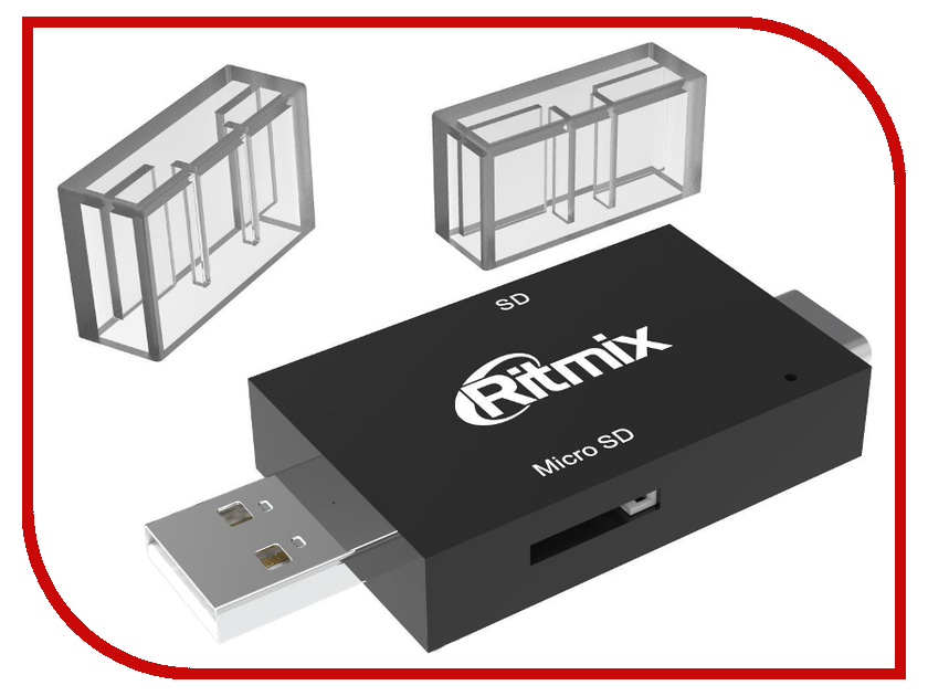Карт-ридер Ritmix CR-2092 USB/USB-Type-C/SD/microSD Black 50pcs micro usb 3 0 male to usb c usb 3 1 type c female extension data cable for macbook tablet 10cm by fedex