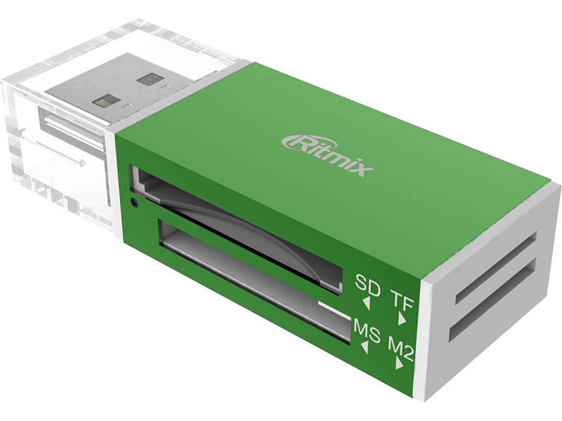 Карт-ридер Ritmix CR-2042 SD/microSD/MS/M2 Green