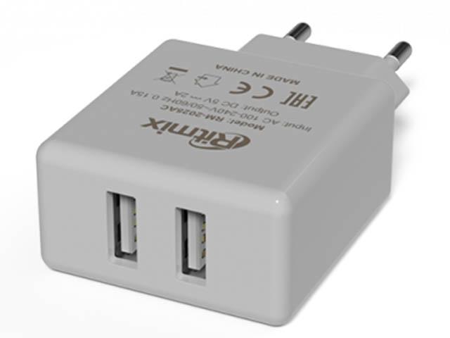 Зарядное устройство Ritmix RM-2025AC 2xUSB White
