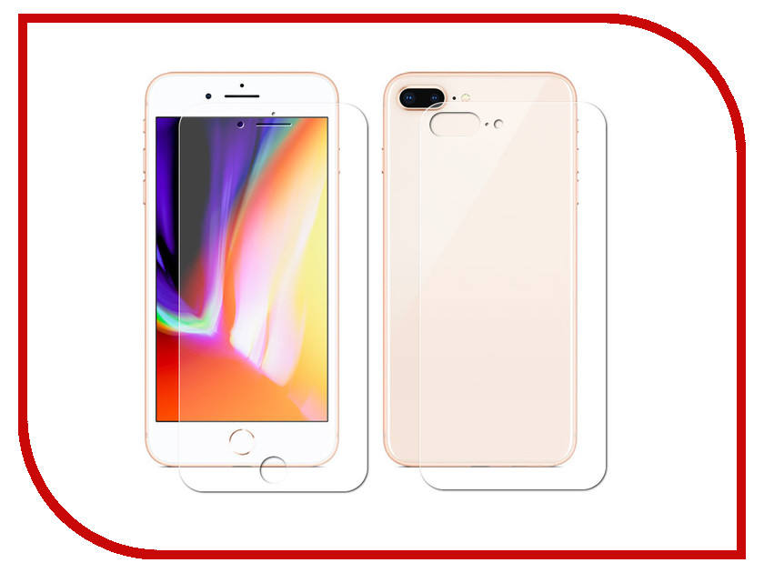 Аксессуар Защитная пленка LuxCase Full Screen Front&Back для APPLE iPhone 8 Plus Transparent 88930 london pattern protective plastic back case w front screen protector for iphone 5 grey red