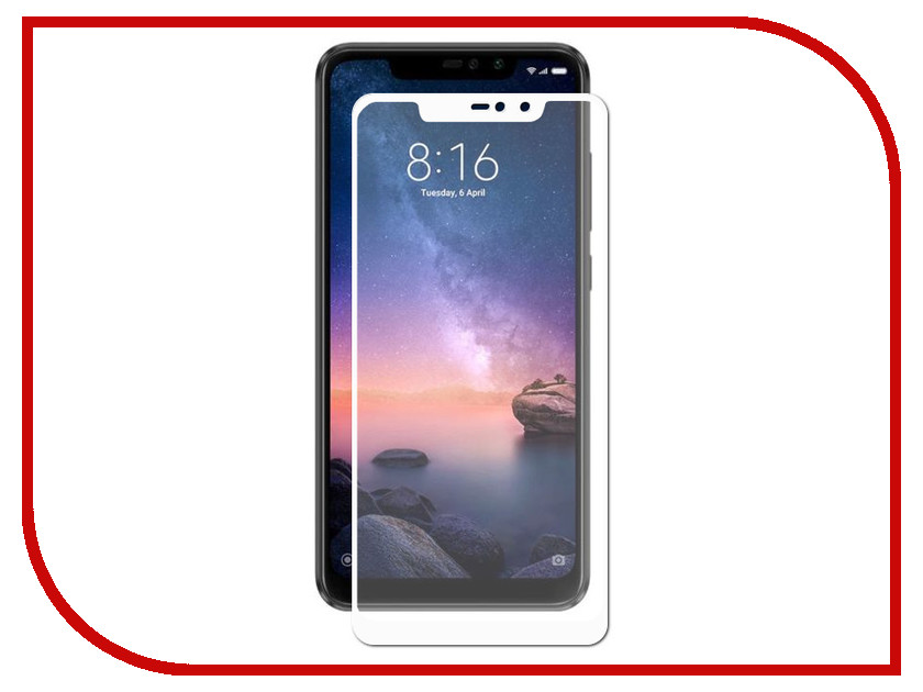 Аксессуар Защитное стекло для Xiaomi Redmi Note 6 32Gb LuxCase 3D White Frame 77403 ak 803 613
