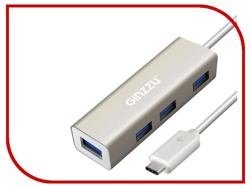 Хаб USB Ginzzu GR-518UB USB Type-C - USB 4 ports 50pcs micro usb 3 0 male to usb c usb 3 1 type c female extension data cable for macbook tablet 10cm by fedex
