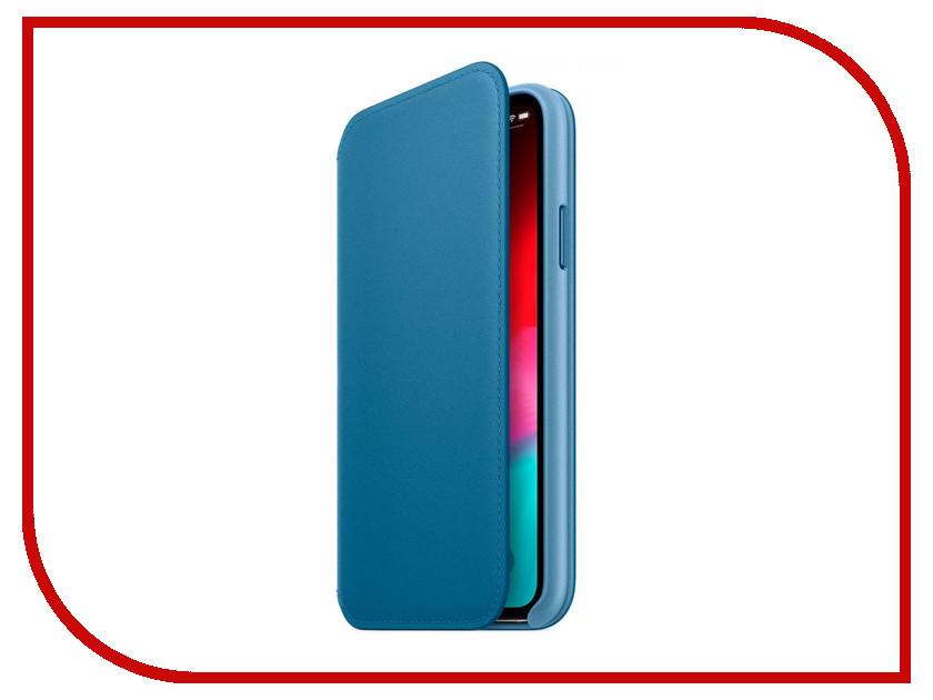Аксессуар Чехол APPLE iPhone XS Leather Folio Cape Cod Blue MRX02ZM/A стоимость