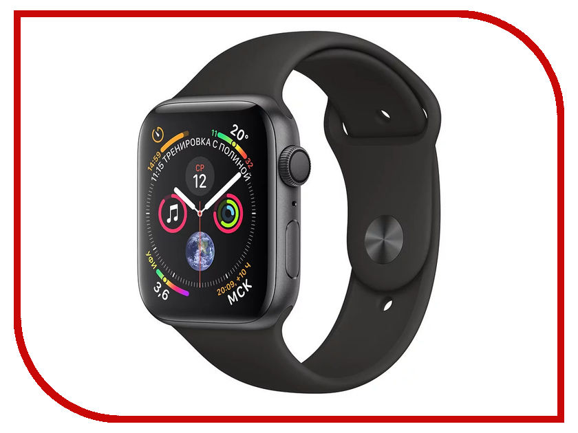 Умные часы APPLE Watch Series 4 40mm Space Grey Aluminium Case with Black Sport Band MU662RU/A top 12 slots carbon fiber leather watch box fashion black pu watch storage box with lock watch and display watch gift case w079