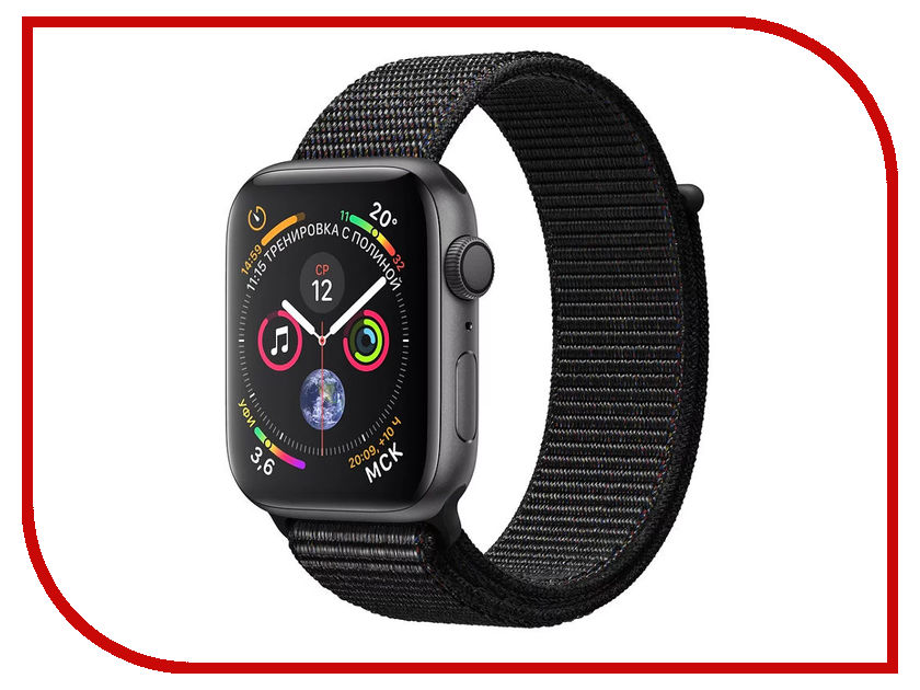 Умные часы APPLE Watch Series 4 40mm Space Grey Aluminium Case with Black Sport Loop MU672RU/A 100% genuine leather watch band strap 20mm 22mm 24mm brown black woman man watchbands watch belts high quality ouyawei