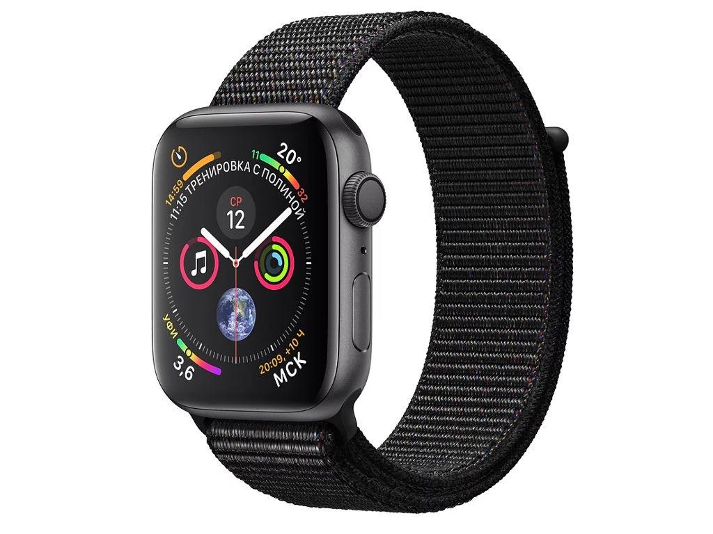 Умные часы APPLEWatch Series4 40mm Space Grey Aluminium Case with Black Sport Loop MU672RU/A
