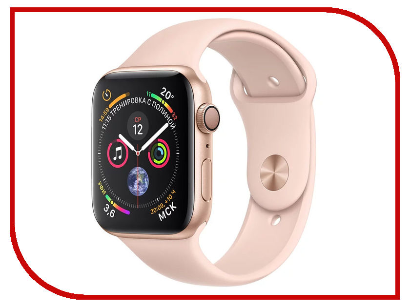 Умные часы APPLE Watch Series 4 40mm Gold Aluminium Case with Pink Sand Sport Band MU682RU/A 18mm 19mm 20mm 21mm 22mm 24mm watch band mens stainless steel band silver gold black watch bracelet strap deployment clasp
