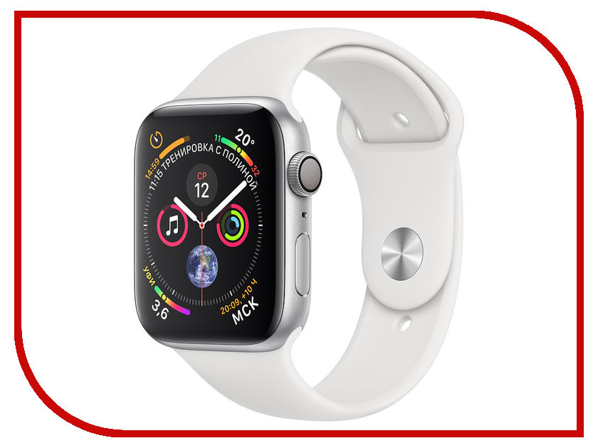 Умные часы APPLE Watch Series 4 44mm Silver Aluminium Case with White Sport Band MU6A2RU/A 18mm 19mm 20mm 21mm 22mm 24mm watch band mens stainless steel band silver gold black watch bracelet strap deployment clasp
