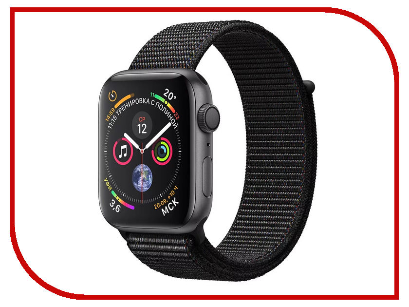 Умные часы APPLE Watch Series 4 44mm Space Grey Aluminium Case with Black Sport Loop MU6E2RU/A lateral lock 10 grids watches box black leather brand watch display box with key watch storage boxes top watch jewelry case d021