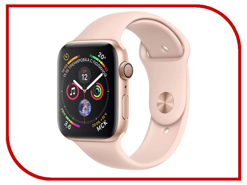 Умные часы APPLE Watch Series 4 44mm Gold Aluminium Case with Pink Sand Sport Band MU6F2RU/A 18mm 19mm 20mm 21mm 22mm 24mm watch band mens stainless steel band silver gold black watch bracelet strap deployment clasp