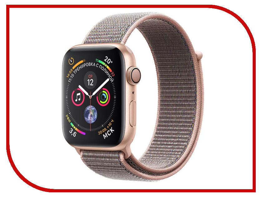 Умные часы APPLE Watch Series 4 44mm Gold Aluminium Case with Pink Sand Sport Loop MU6G2RU/A lateral lock 10 grids watches box black leather brand watch display box with key watch storage boxes top watch jewelry case d021