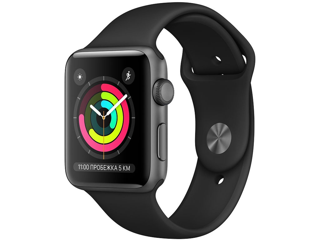 Умные часы Apple Watch Series 3 38mm Space Grey Aluminum Case with Black Sport Band часы apple watch series 5 gps 40mm aluminum case with nike sport band серебристый чистая платина черный