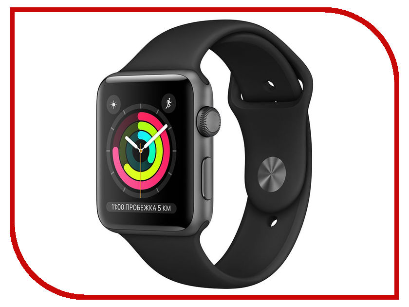 Умные часы Apple Watch Series 3 42mm Space Grey Aluminum Case with Black Sport Band apple watch 42mm