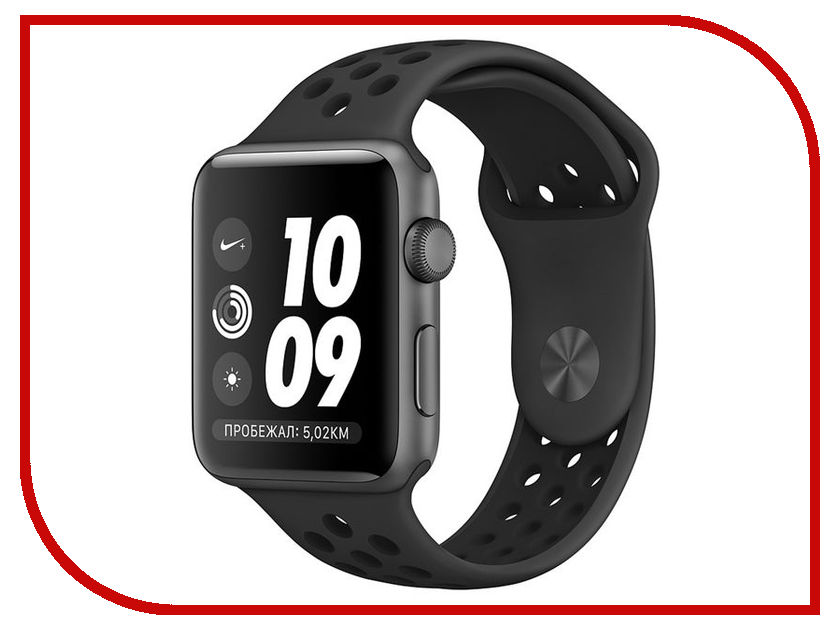 Умные часы APPLE Watch Series 3 Nike+ 38mm Space Grey Aluminium Case with Anthracite-Black Nike Sport Band MTF12RU/A eyki nbw0me7211 self winding mechanical skeleton genuine leather band wrist watch black