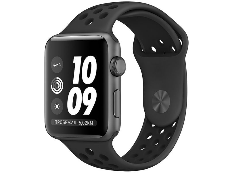 Умные часы APPLE Watch Series 3 Nike+ 38mm Space Grey Aluminium Case with Anthracite-Black Nike Sport Band MTF12RU/A часы apple watch series 5 gps 40mm aluminum case with nike sport band серебристый чистая платина черный