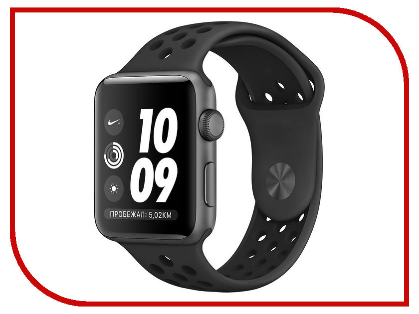 Умные часы APPLE Watch Series 3 Nike+ 42mm Space Grey Aluminium Case with Anthracite-Black Nike Sport Band MTF42RU/A eyki nbw0me7211 self winding mechanical skeleton genuine leather band wrist watch black