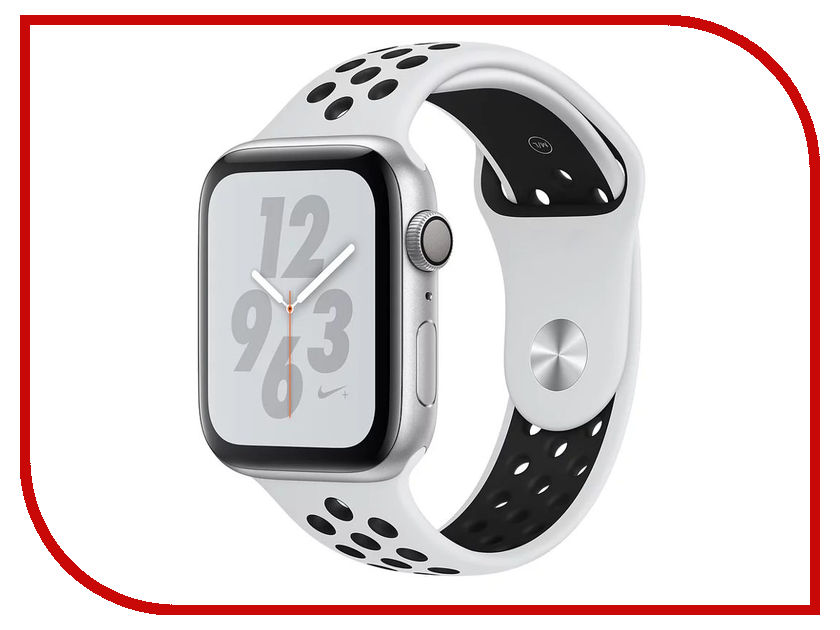Умные часы APPLE Watch Nike+ Series 4 44mm Silver Aluminium Case with Pure Platinum-Black Nike Sport Band MU6K2RU/A стоимость