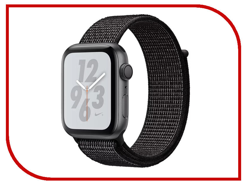 Умные часы APPLE Watch Nike+ Series 4 40mm Space Grey Aluminium Case with Black Nike Sport Loop MU7G2RU/A lateral lock 10 grids watches box black leather brand watch display box with key watch storage boxes top watch jewelry case d021