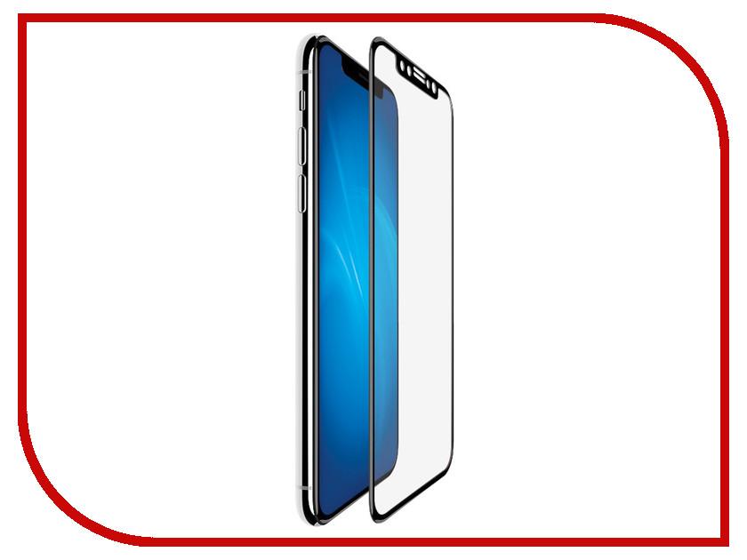 Аксессуар Защитное стекло для APPLE iPhone XS Onext с рамкой Black 41843 аксессуар защитное стекло onext для iphone 6 plus с рамкой white 40936