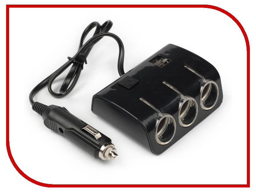 Разветвитель СИМА-ЛЕНД Black 1400637 компас с термометром автомобильный сима ленд black 3130955