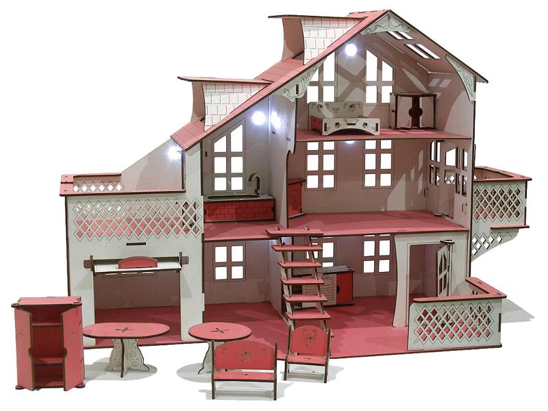 Кукольный домик Iwoodplay 85x35x70cm со светом igkd-03-01
