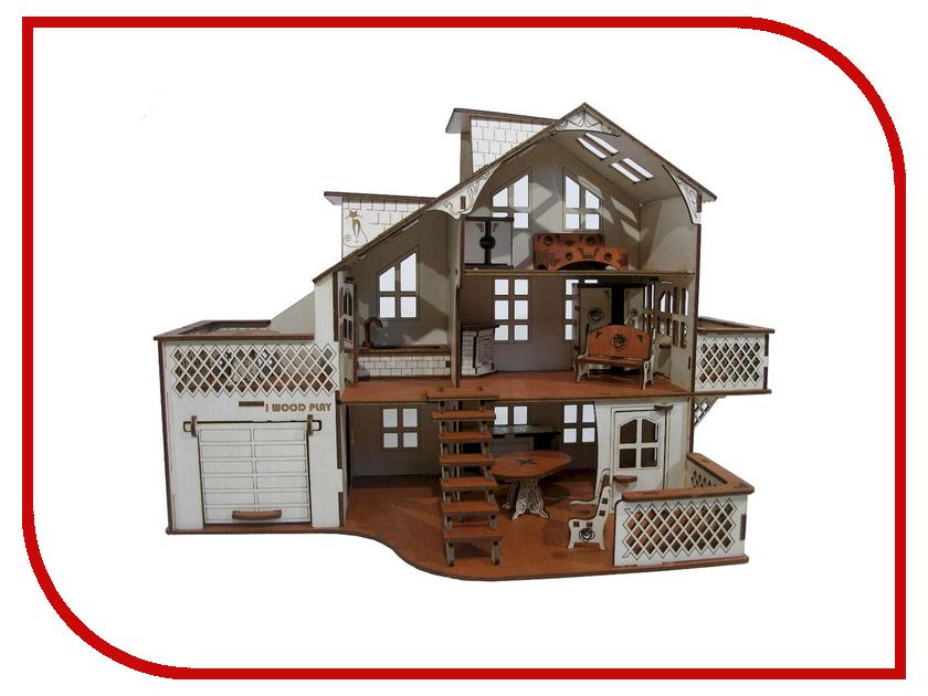 Кукольный домик Iwoodplay 52x26x35cm с гаражом igkd-01-01 kinklight 07890 01