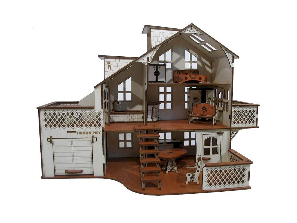 Кукольный домик Iwoodplay 52x26x35cm с гаражом igkd-01-01