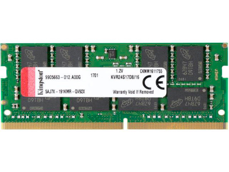 Модуль памяти Kingston DDR4 SO-DIMM 2400MHz PC19200 - 16Gb KVR24S17D8/16