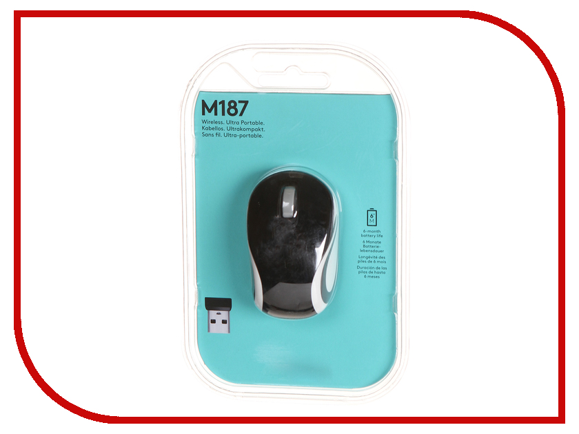 Мышь беспроводная Logitech Wireless Mini Mouse M187 Black 910-002736 / 910-002731<br>