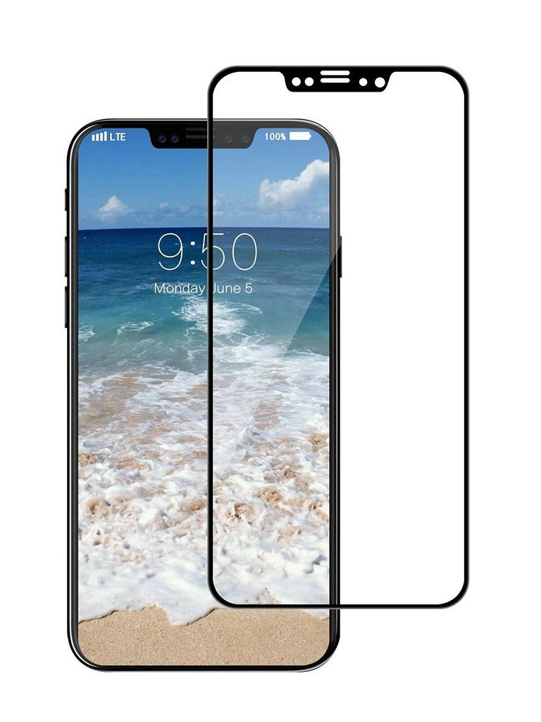 Аксессуар Защитное стекло Krutoff для APPLE iPhone X Full Screen Black 02615 аксессуар накладка силиконовая krutoff для apple iphone x blue karbon 11915
