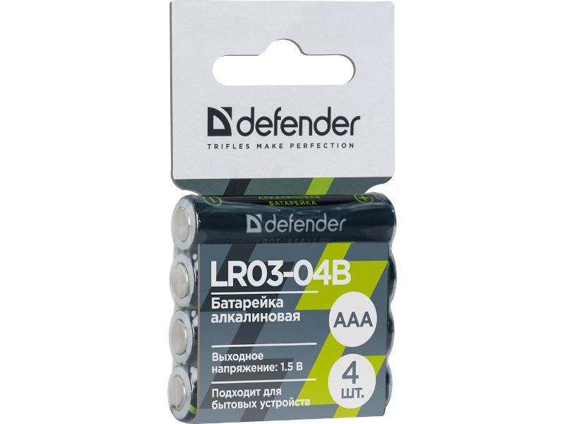 Батарейка AAA - Defender Alkaline LR03-04B (4 штуки) 56008