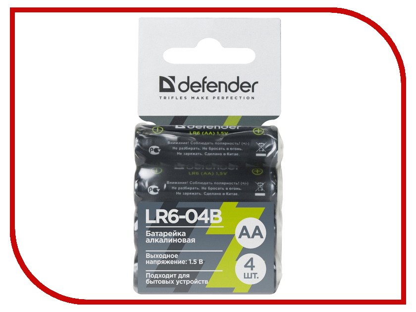 Батарейка AA - Defender Alkaline LR6-04B (4 штуки) 56028 1pcs lot battery holder box case 3x aa 4 5v with switch