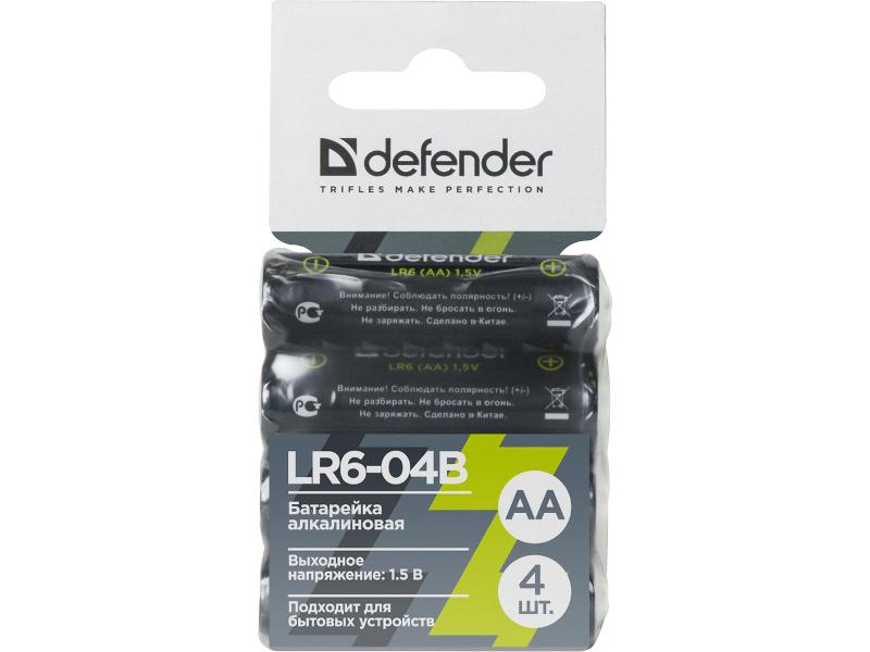 Батарейка AA - Defender Alkaline LR6-04B (4 штуки) 56028