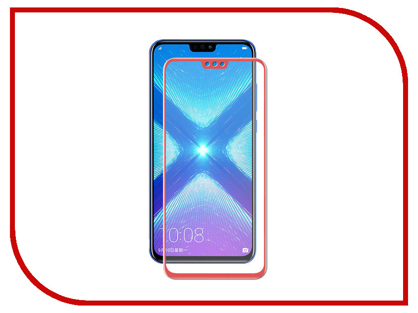 Аксессуар Закаленное стекло для Huawei Honor 8X/8X Premium DF Full Screen + Fullglue hwColor-74 Red high quality brand new lcd display touch screen digitizer full assembly for htc 8x 1pc lot free shipping
