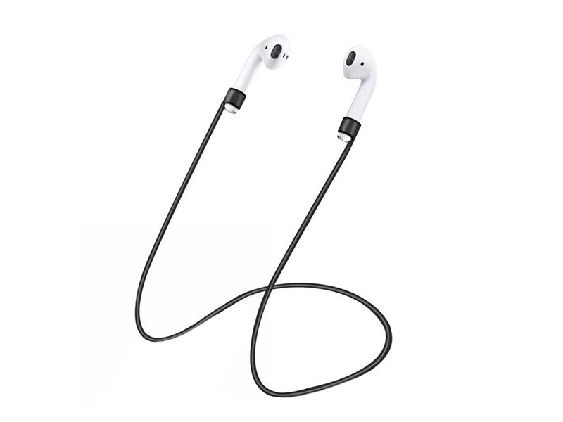 Аксессуар Шнурки GS для APPLE Airpods Black SWA5 аксессуар силиконовые насадки gs для apple airpods transparent airs4