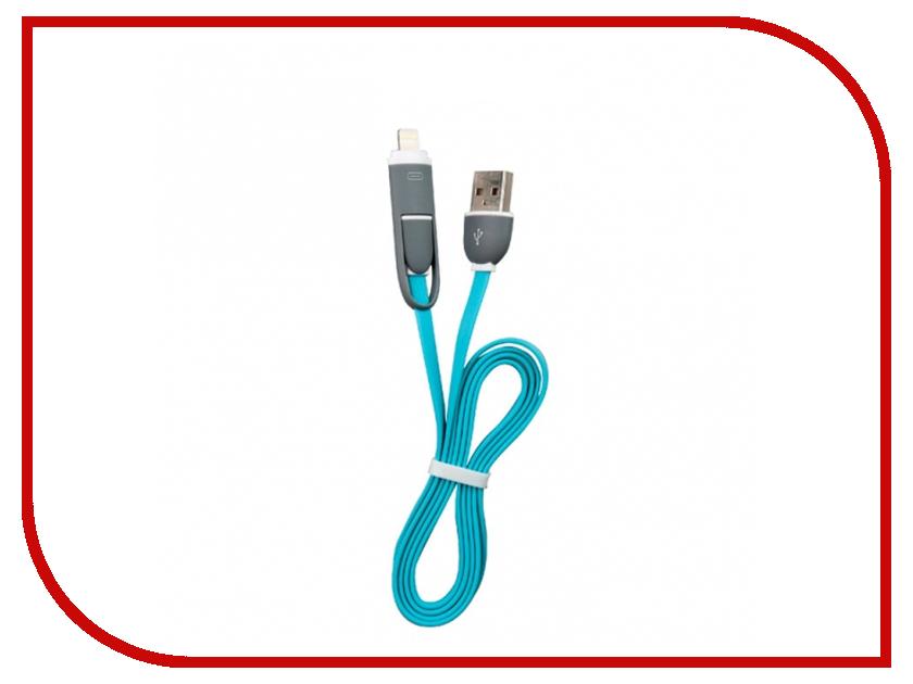 Аксессуар Ritmix RCC-200 USB 2.0 - Lightning/MicroUSB Blue 15118984 ritmix rcc 200 blue кабель 2в1 usb micro usb apple lightning 1 м
