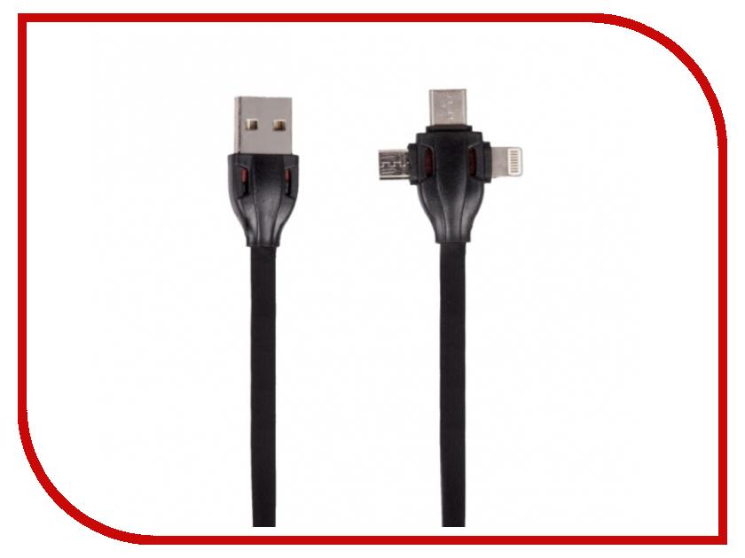 Аксессуар Ritmix RCC-300 USB 2.0 - MicroUSB/Type-C/Lightning Black 15119665 аксессуар baseus t type magnetic usb microusb lightning 8 pin gold black caltx 1v