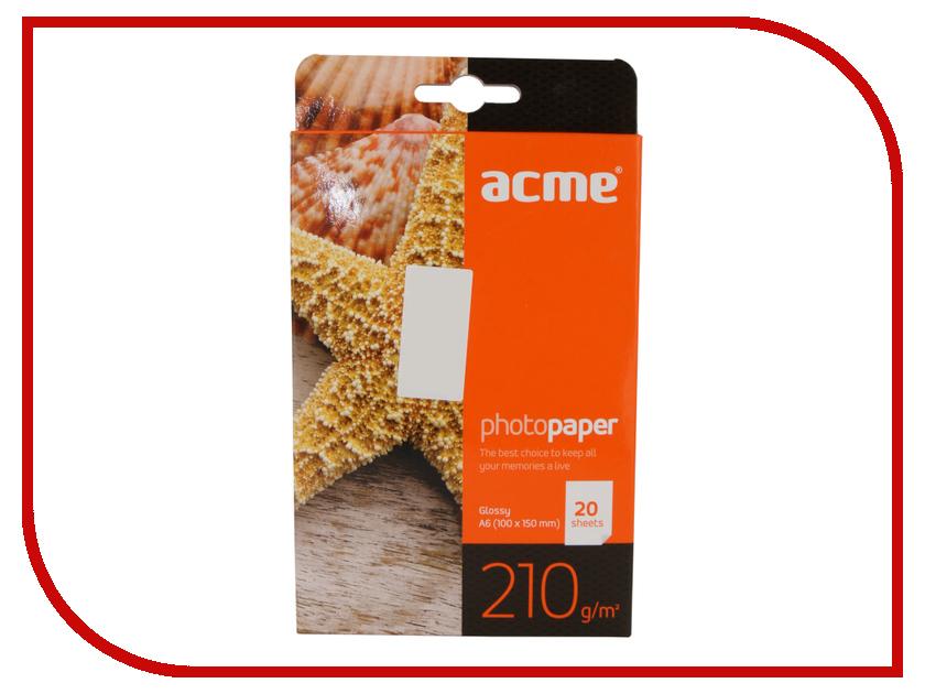 Фотобумага Acme Premium глянцевая A6 10x15cm 210g/m2 20 листов цены онлайн